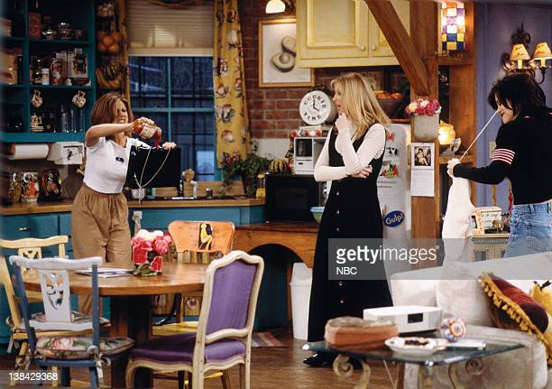 FRIENDS The One After the Superbowl Episode 12 Pictured Jennifer Aniston as Rachel Green Lisa Kudrow as Phoebe Buffay Courteney Cox Arquette as...