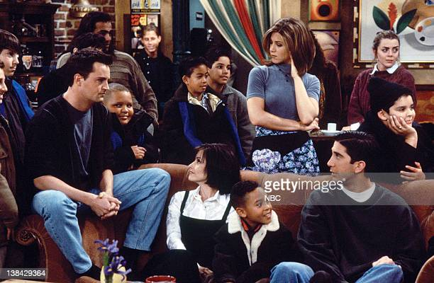 FRIENDS The One After the Superbowl Episode 12 Pictured Matthew Perry as Chandler Bing Jennifer Aniston as Rachel Green David Schwimmer as Ross...