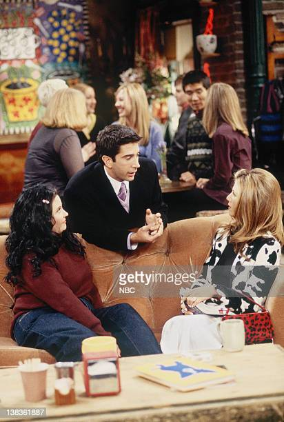 """The One That Could Have Been: Part 1, 2"""" Episode 15, 16 -- Pictured: Courteney Cox as Monica Geller, David Schwimmer as Ross Geller, Jennifer Aniston..."""