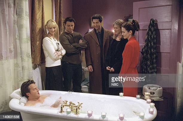 "The One Where Chandler Takes A Bath"" Episode 813 -- Pictured: Matthew Perry as Chandler Bing, Lisa Kudrow as Phoebe Buffay, Matt LeBlanc as Joey..."