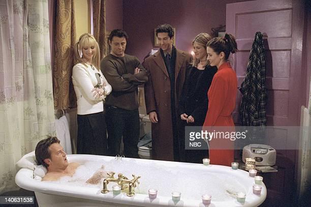 "The One Where Chandler Takes A Bath"" Episode 813 -- Pictured: Matthew Perry as Chandler Bing, Lisa Kudrow as Phoebe Buffay, Matt LeBlanc as Joey..."