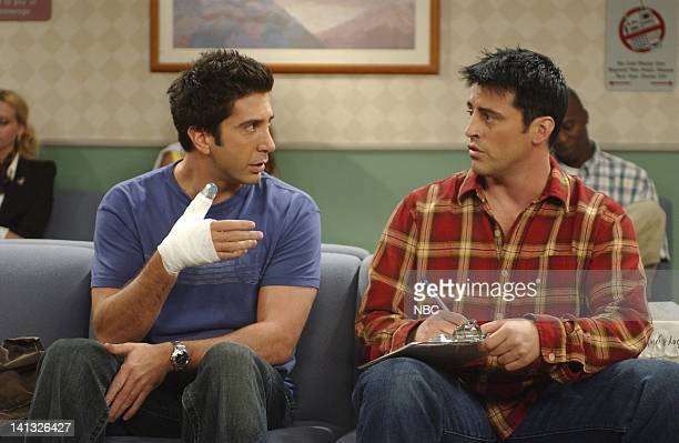 """The One Where Emma Cries"""" -- Episode 2 -- Aired 10/3/2002-- Pictured: David Schwimmer as Ross Geller, Matt LeBlanc as Joey Tribbiani -- Photo by:..."""