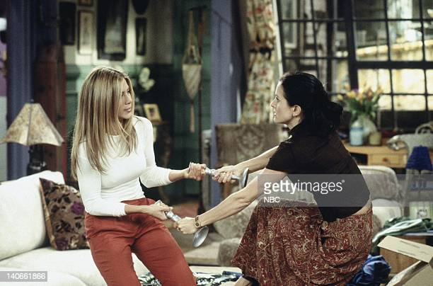 FRIENDS 'The One Where Joey Loses His Insurance' Episode 4 Aired Pictured Jennifer Aniston as Rachel Green Courteney Cox as Monica Geller Photo by...