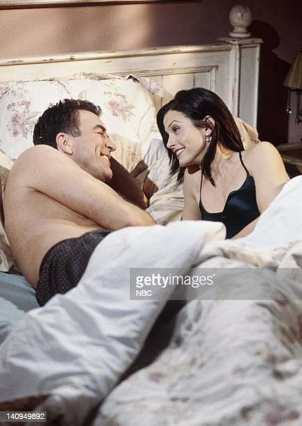 FRIENDS The One Where Monica and Richard Are Just Friends Episode 13 Pictured Tom Selleck as Dr Richard Burke Courteney Cox Arquette as Monica Geller...