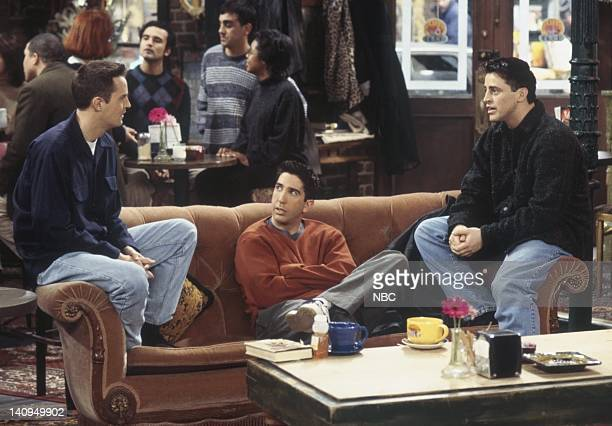 "The One Where Monica and Richard Are Just Friends"" Episode 13 -- Pictured: Matthew Perry as Chandler Bing, David Schwimmer as Ross Geller, Matt..."