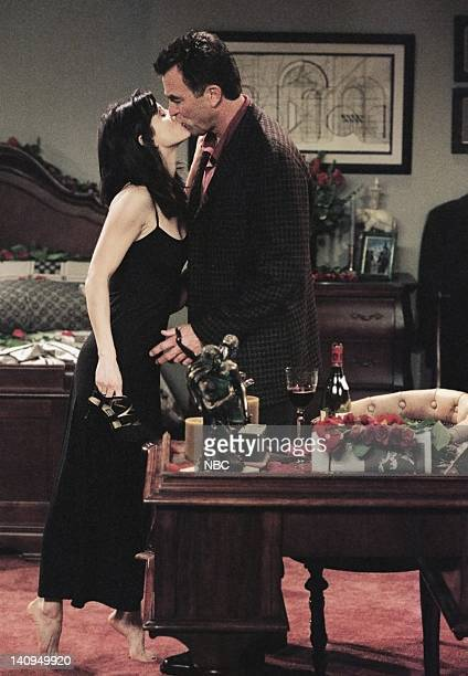 FRIENDS The One Where Monica and Richard Are Just Friends Episode 13 Pictured Courteney Cox Arquette as Monica Geller Tom Selleck as Dr Richard Burke...