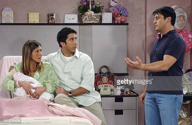 """The One Where No One Proposes"""" -- Episode 1 -- Aired 9/26/2002 -- Pictured: Jennifer Aniston as Rachel Green, David Schwimmer as Ross Geller, Matt..."""
