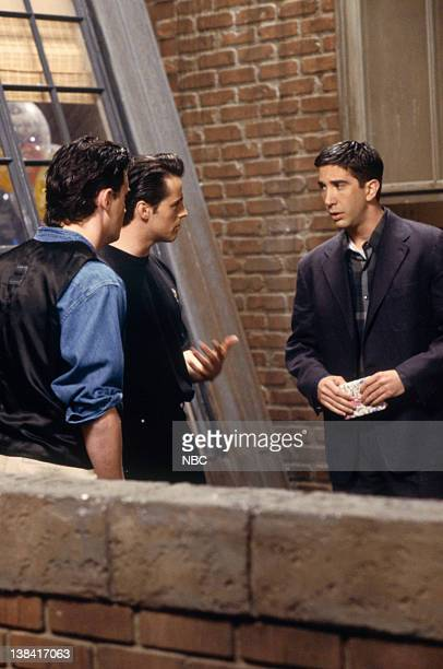 FRIENDS The One Where Rachel Finds Out Episode 24 Pictured Matthew Perry as Chandler Bing Matt LeBlanc as Joey Tribbiani David Schwimmer as Ross...