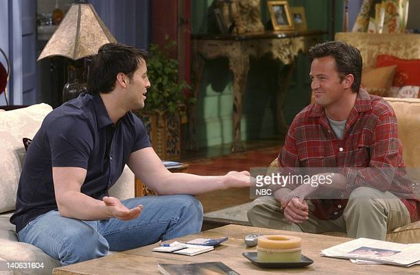 FRIENDS The One Where Rachel Is Late Episode 22 Aired 5/9/2002 Pictured Matt LeBlanc as Joey Tribbiani Matthew Perry as Chandler Bing Photo by NBCU...