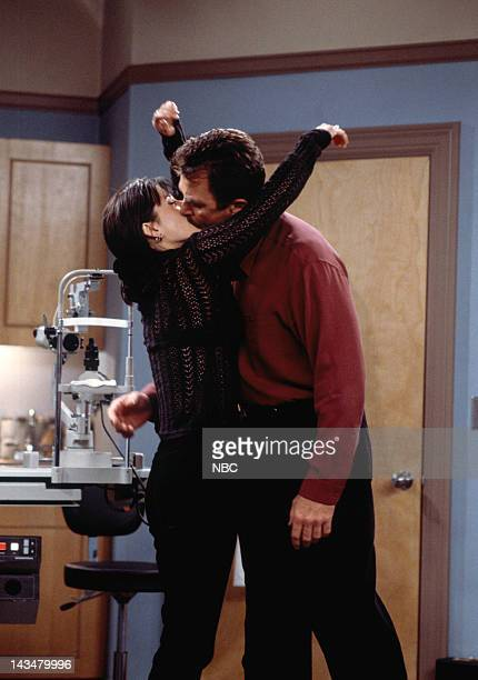 FRIENDS The One Where Ross and RachelYou Know Episode 15 Pictured Courteney Cox as Monica Geller Tom Selleck as Dr Richard Burke