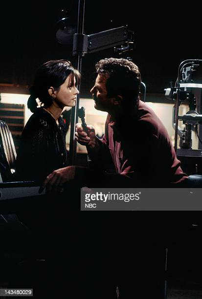 FRIENDS The One Where Ross and RachelYou Know Episode 15 Pictured Courteney Cox Arquette as Monica Geller Tom Selleck as Dr Richard Burke
