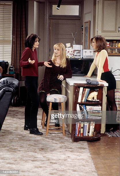 FRIENDS The One Where Ross and RachelYou Know Episode 15 Pictured Courteney Cox as Monica Geller Lisa Kudrow as Phoebe Buffay Jennifer Aniston as...