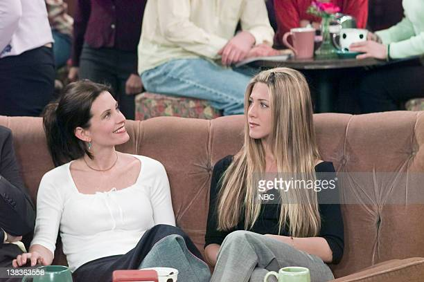 FRIENDS 'The One Where Ross Meets Elizabeth's Dad' Episode 21 Aired 4/27/2000 Pictured Courteney Cox as Monica Geller Jennifer Aniston as Rachel Green