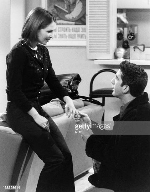 """The One with All the Haste"""" Episode 19 -- Air Date -- Pictured: Helen Baxendale as Emily Waltham, David Schwimmer as Ross Geller"""