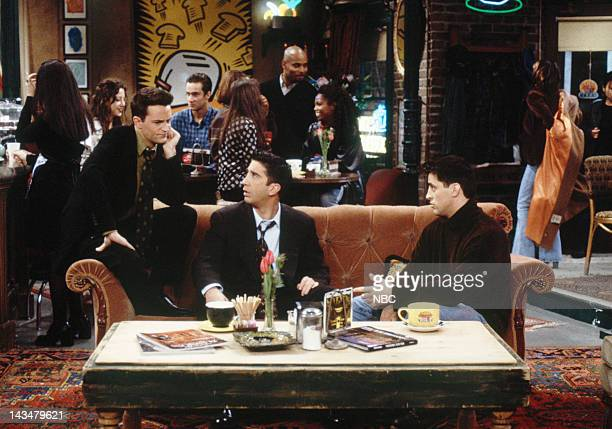 """The One with All the Jealousy"""" Episode 12 -- Pictured: Matthew Perry as Chandler Bing, David Schwimmer as Ross Geller, Matt LeBlanc as Joey Tribbiani"""