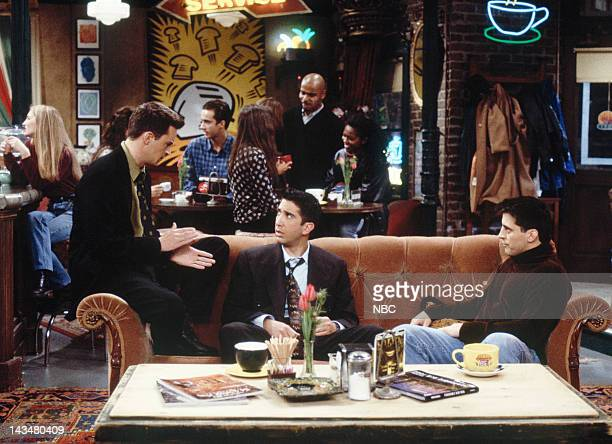 FRIENDS The One with All the Jealousy Episode 12 Pictured Matthew Perry as Chandler Bing David Schwimmer as Ross Geller Matt LeBlanc as Joey Tribbiani