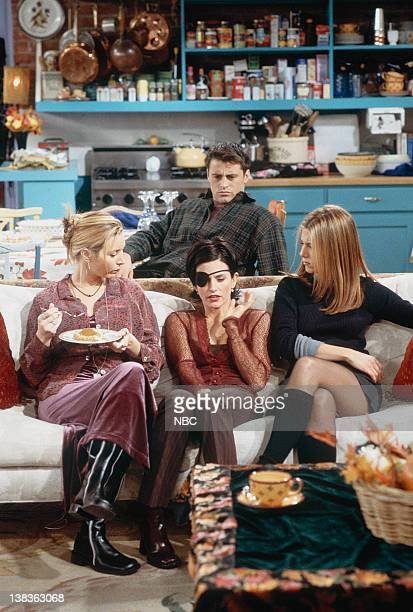 FRIENDS The One with Chandler in a Box Episode 8 Pictured Lisa Kudrow as Phoebe Buffay Courteney Cox as Monica Geller Jennifer Aniston as Rachel...