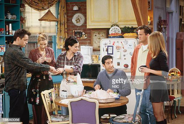 """The One with Chandler in a Box"""" Episode 8 -- Pictured: Matt LeBlanc as Joey Tribbiani, Lisa Kudrow as Phoebe Buffay, Courteney Cox as Monica Geller,..."""
