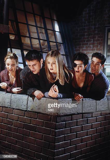 FRIENDS The One with Chandler in a Box Episode 8 Pictured Matt LeBlanc as Joey Tribbiani Lisa Kudrow as Phoebe Buffay Jennifer Aniston as Rachel...