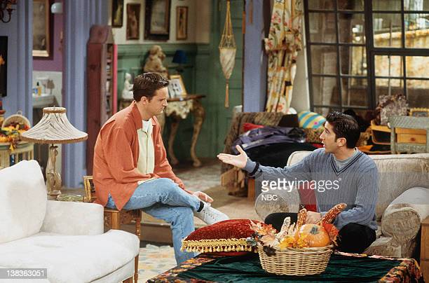 """The One with Chandler in a Box"""" Episode 8 -- Pictured: Matthew Perry as Chandler Bing, David Schwimmer as Ross Geller"""