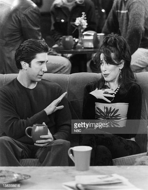 """The One with Chandler's Work Laugh"""" Episode 12 -- Air Date -- Pictured: David Schwimmer as Dr. Ross Geller, Maggie Wheeler as Janice Litman"""