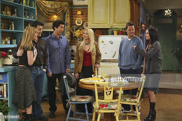 FRIENDS 'The One with Rachel's Going Away Party' Episode 16 Aired 4/29/2004 Pictured Matt LeBlanc as Joey Tribbiani Jennifer Aniston as Rachel Green...