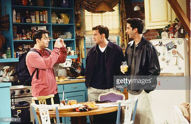 FRIENDS 'The One With Ross's Wedding Part 1' Episode 23 Pictured Matt LeBlanc as Joey Tribbiani Matthew Perry as Chandler Bing David Schwimmer as...