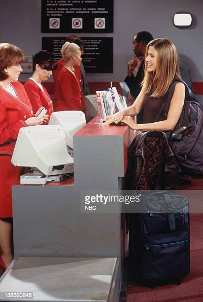 FRIENDS 'The One with Ross's Wedding Part 2' Episode 24 Pictured Jane Carr as The Ticket Agent Jennifer Aniston as Rachel Green