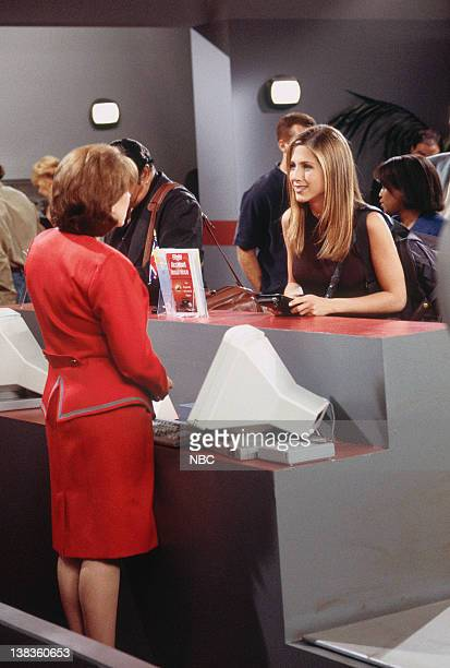 FRIENDS The One with Ross's Wedding Part 2 Episode 24 Pictured Jane Carr as The Ticket Agent Jennifer Aniston as Rachel Green