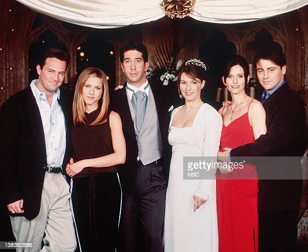 FRIENDS 'The One with Ross's Wedding Part 2' Episode 24 Pictured Matthew Perry as Chandler Bing Jennifer Aniston as Rachel Green David Schwimmer as...
