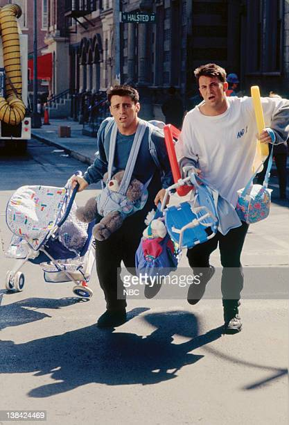 FRIENDS The One With the Baby on the Bus Episode 6 Pictured Matt Le Blanc as Joey Tribbiani Matthew Perry as Chandler Bing