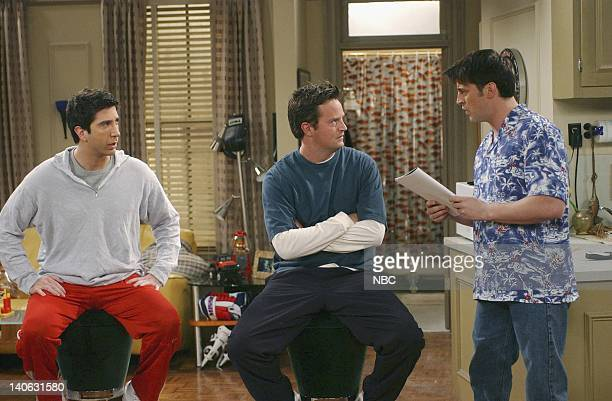 """The One With The Baby Shower""""-- Episode 20 -- Aired 4/25/2002 -- Pictured : David Schwimmer as Ross Geller, Matthew Perry as Chandler Bing, Matt..."""