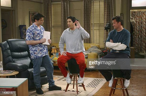 """The One With The Baby Shower""""-- Episode 20 -- Aired 4/25/2002 -- Pictured : Matt LeBlanc as Joey Tribbiani, David Schwimmer as Ross Geller, Matthew..."""