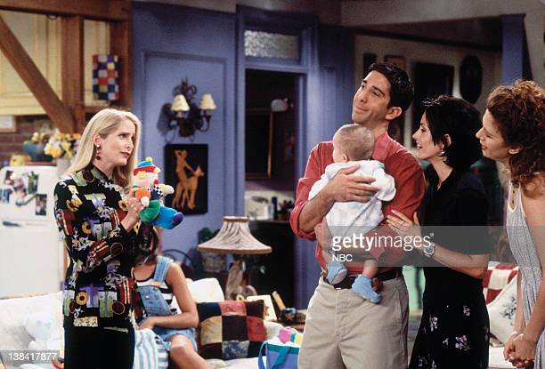"The One With the Breast Milk"" Episode 2 -- Pictured: Jane Sibbett as Carol Willick, David Schwimmer as Ross Geller, unknown as Ben Geller-Willick,..."