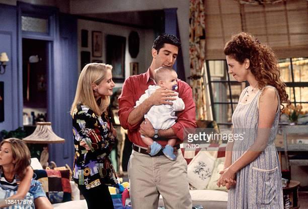 "The One With the Breast Milk"" Episode 2 -- Pictured: Jennifer Aniston as Rachel Green, Jane Sibbett as Carol Willick, David Schwimmer as Ross Geller,..."