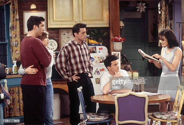 FRIENDS The One with the Bullies Episode 21 Pictured David Schwimmer as Ross Geller Jennifer Aniston as Rachel Green Matt LeBlanc as Joey Tribbiani...
