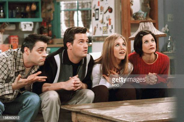 "The One With The Embryos"" -- Episode 12 -- Aired 1/15/1998 -- Pictured: Matt Le Blanc as Joey Tribbiani, Matthew Perry as Chandler Bing, Jennifer..."