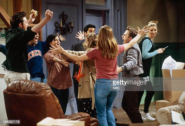 FRIENDS The One with the Embryos Episode 12 Pictured Matthew Perry as Chandler Bing Matt LeBlanc as Joey Tribbiani Courteney Cox as Monica Geller...