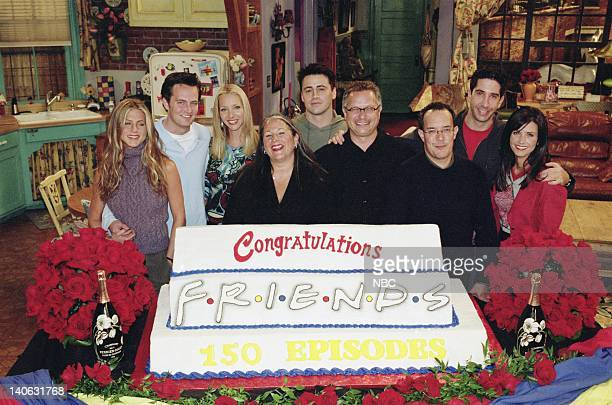 "The One With The Engagement Picture"" -- Episode 5 -- Aired 11/2/2000 -- Pictured : Jennifer Aniston, Matthew Perry, Lisa Kudrow, executive producer..."