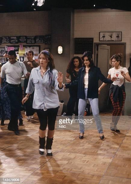 FRIENDS 'The One with the Fake Monica' Episode 21 Pictured Karla Tamburrelli as The Teacher Courteney Cox as Monica Geller Jennifer Aniston as Rachel...
