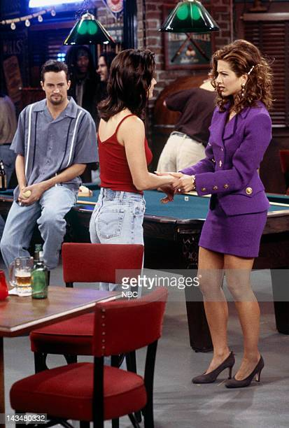 FRIENDS The One with the Flashback Episode 6 Pictured Matthew Perry as Chandler Bing Courteney Cox Arquette as Monica Geller Jennifer Aniston as...
