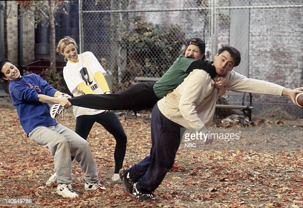 FRIENDS 'The One with the Football' Episode 6 Pictured Courteney Cox Arquette as Monica Geller Lisa Kudrow as Phoebe Buffay Jennifer Aniston as...