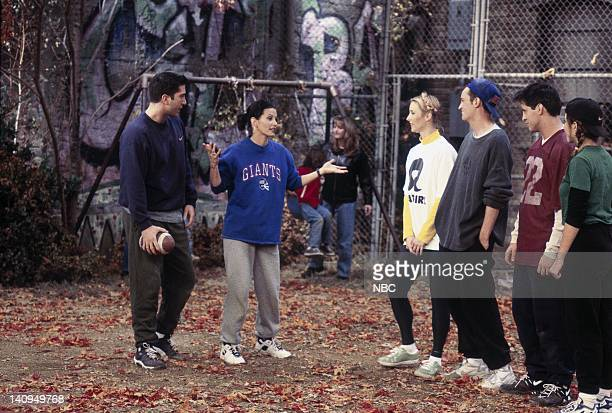 """The One with the Football"""" Episode 6 -- Pictured: David Schwimmer as Ross Geller, Courteney Cox Arquette as Monica Geller, Lisa Kudrow as Phoebe..."""