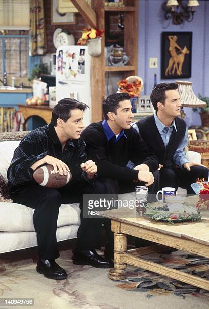 """The One with the Football"""" Episode 6 -- Pictured: Matt LeBlanc as Joey Tribbiani, David Schwimmer as Ross Geller, Matthew Perry as Chandler Bing --..."""