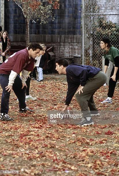 "The One with the Football"" Episode 6 -- Pictured: Matt LeBlanc as Joey Tribbiani, David Schwimmer as Ross Geller, Jennifer Aniston as Rachel Green --..."