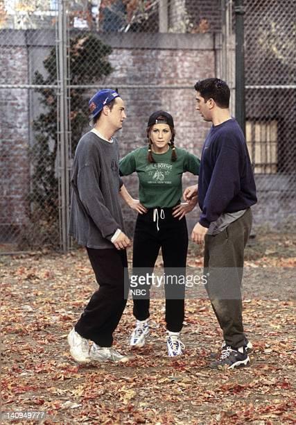 FRIENDS The One with the Football Episode 6 Pictured Matthew Perry as Chandler Bing Jennifer Aniston as Rachel Green David Schwimmer as Ross Geller...