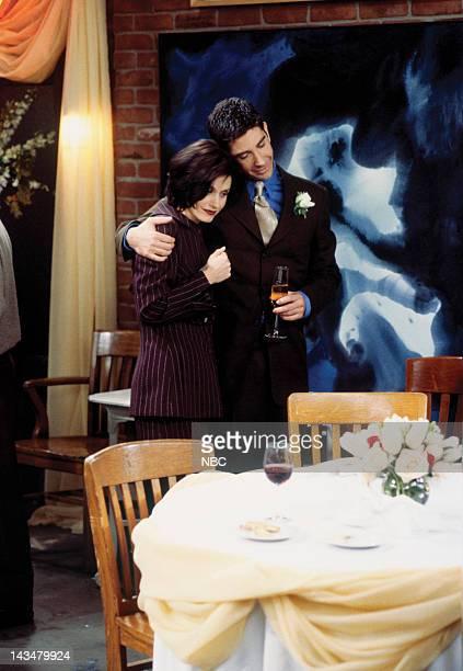 "The One with the Lesbian Wedding"" Episode 11 -- Pictured: Courteney Cox Arquette as Monica Geller, David Schwimmer as Ross Geller"