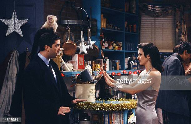 """The One with the Monkey"""" Episode 10 -- Air Date -- Pictured: David Schwimmer as Ross Geller, Katie/Monkey as Marcel, Courteney Cox as Monica Geller"""