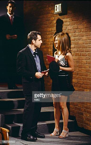 FRIENDS The One with the Screamer Episode 322 Pictured Ben Stiller as Tommy Jennifer Aniston as Rachel Green