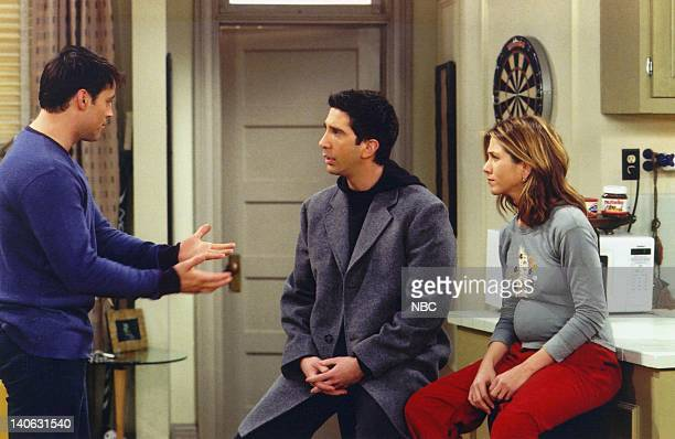 """The One with the Secret Closet"""" -- Episode 14 -- Aired 1/31/2002 -- Pictured: Matt LeBlanc as Joey Tribbiani, David Schwimmer as Dr. Ross Geller,..."""